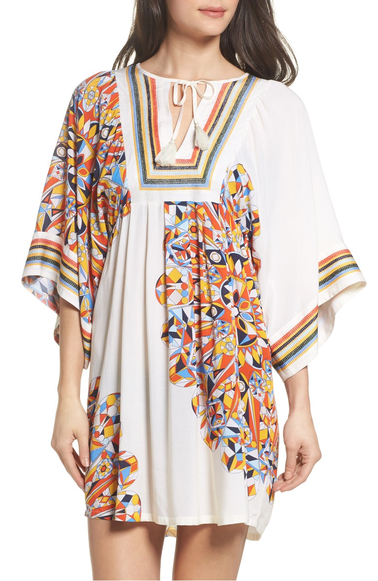 Torey Burch geometric printed and embroidered tunic