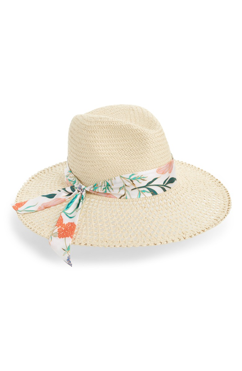 Cane-woven fedora with a wide, slanted brim trimmed with a flower-print sash from Kate Spade New York