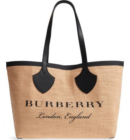 Woven jute adds a laid-back, rustic aesthetic to a roomy logo tote from Burberry