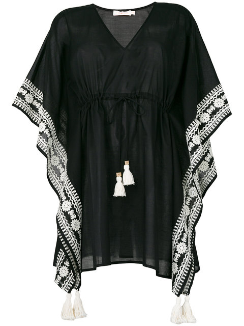 Black cotton embroidered kaftan from Tory Burch with v-neck, a drawstring waist, tassel detailing, batwing sleeves and embroidered details.