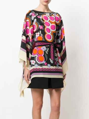 Fendi kaftan blouse features a boat neck, three-quarter length sleeves, a belted waist, an asymmetric hem, a flared style and a multicolored Fun Fair print all-over