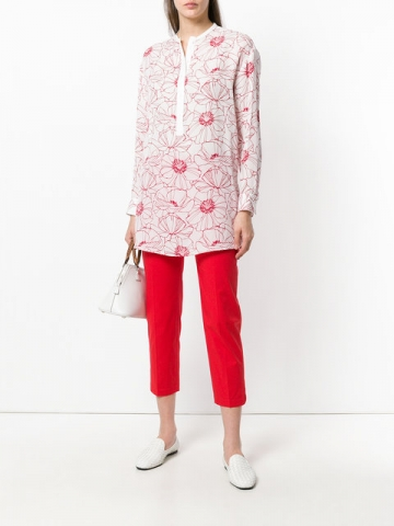 White and red silk printed round neck tunic from Loro Piana