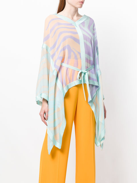 Pastelle shadow zebra silk tie waist v-neck kaftan from Roberto Cavalli featuring tie waist and a draped design/