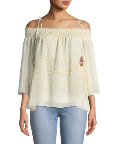 """Rebecca Minkoff """"Casey"""" floral-print blouse with delicate ruffle detailing"""