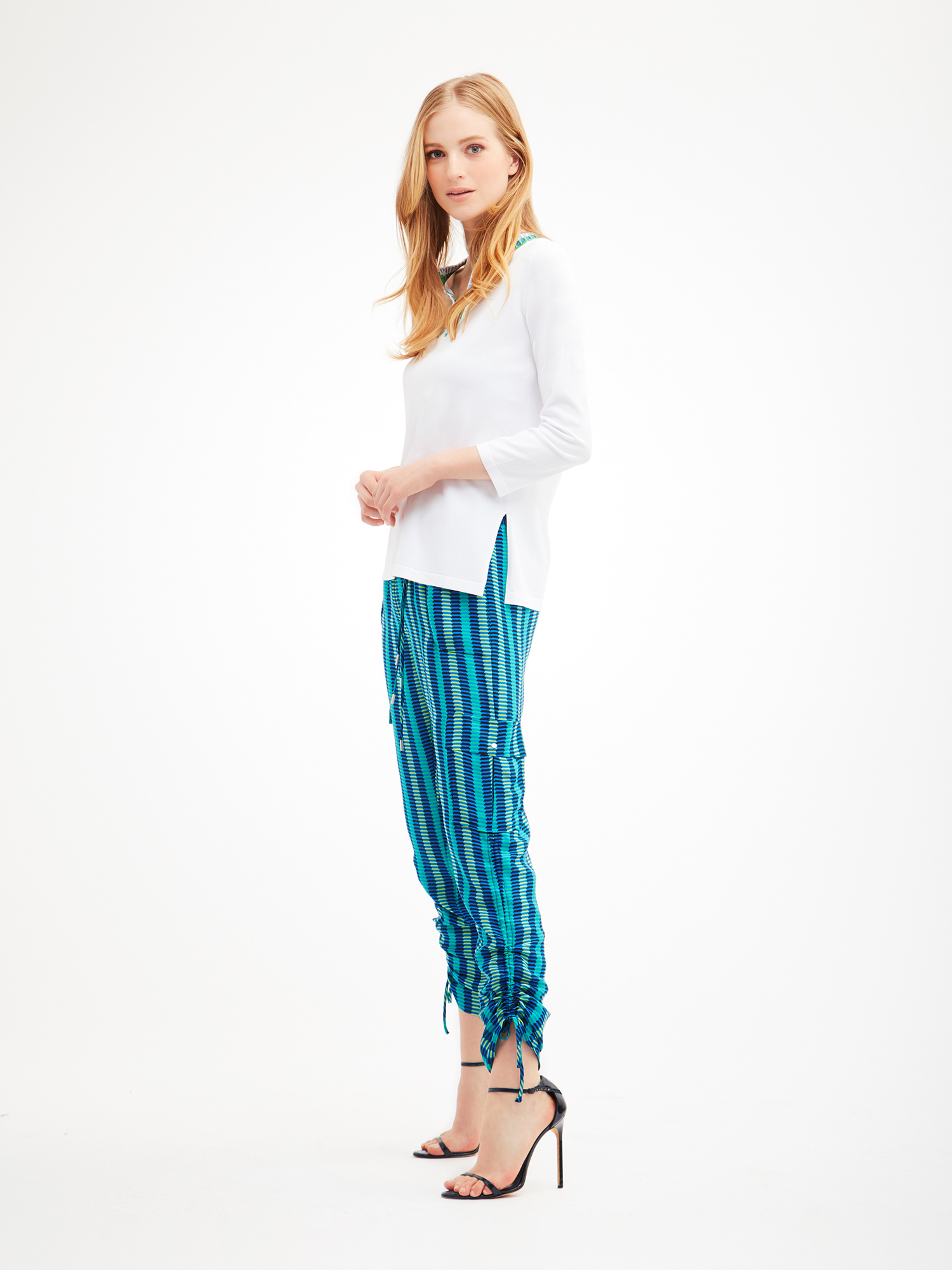 Double layer georgette cargo pants from the Carlisle Collection.