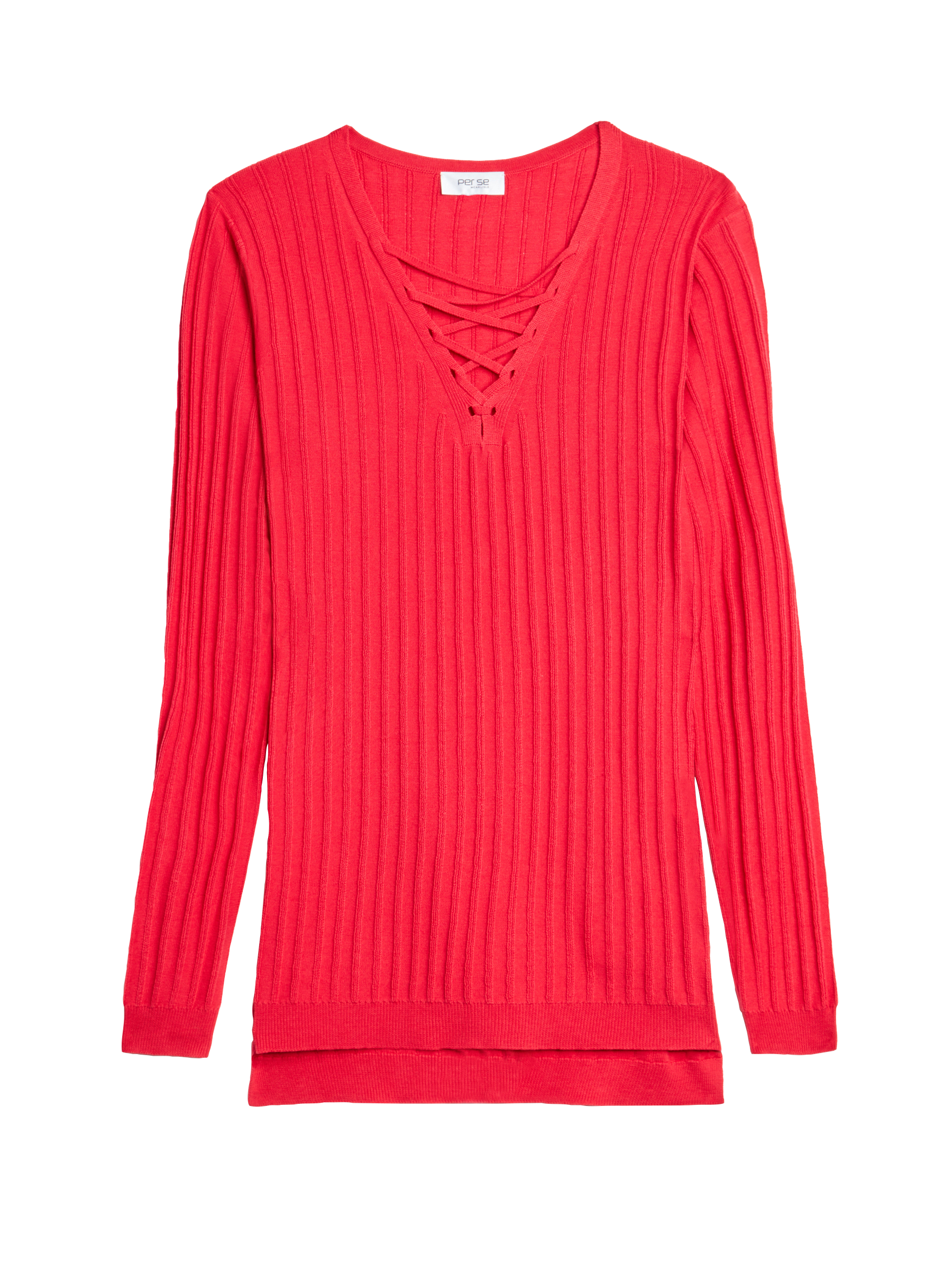 A simple ribbed sweater gets an on-trend update with lacing at the front neck. From Carlisle.