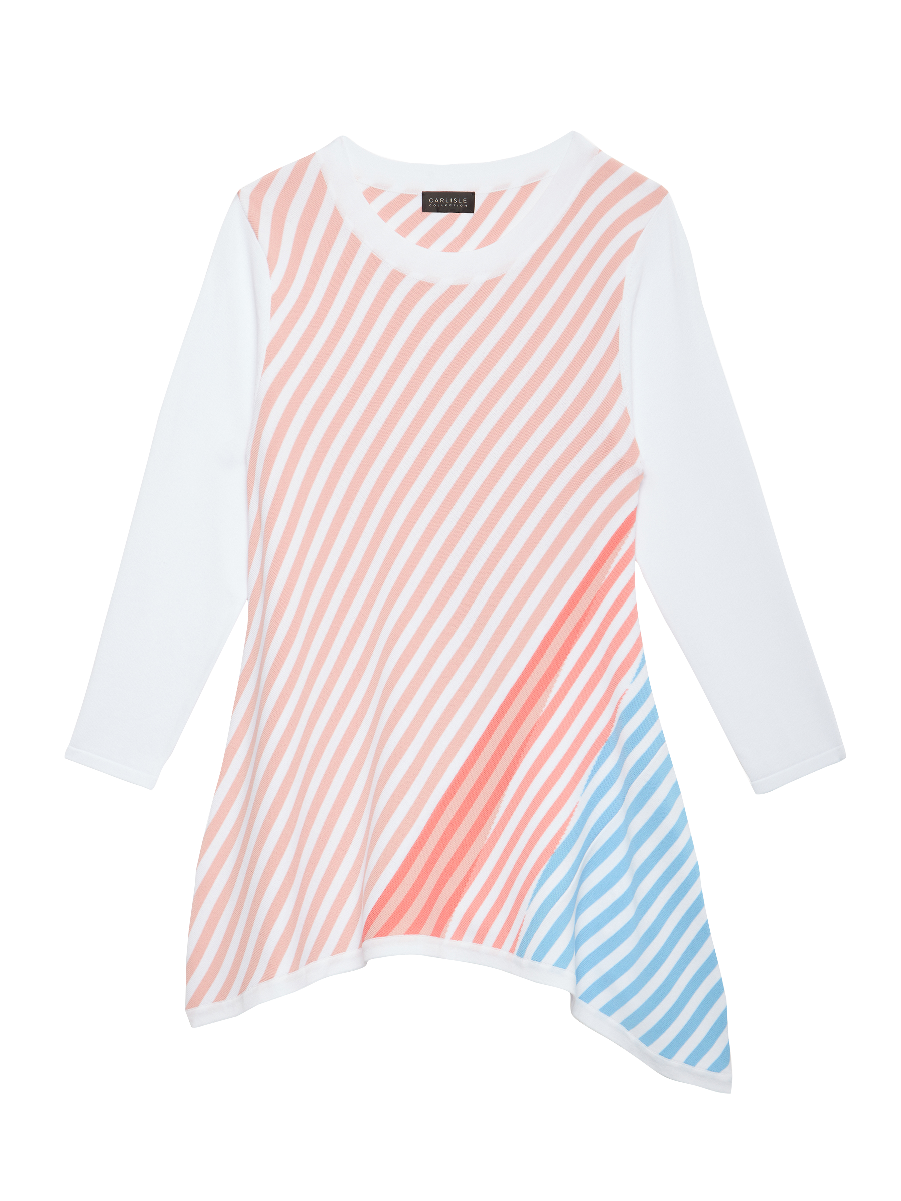 Asymmetrical colorful striped sweater in a drapey flared silhouette from Carlisle