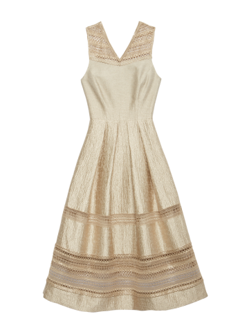 Tea-length jacquard and lace party dress is a flattering silhouette from Carlisle.
