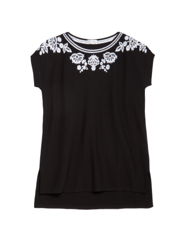 Floral embroidery accentuates the neckline and shoulders of this short sleeve sweater from Carlisle.