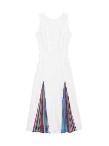White crepe summer dress redefines fit and flare with dramatic color from Carlisle