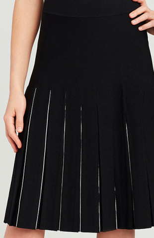 Must-have knit skirt. The box pleat detail updates your wardrobe and provides a lean and comfortable silhouette. Carlisle Spring