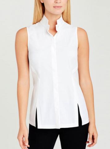 Angled front seams and cutaway slits give this Carlisle sleeveless shirt a modern twist.