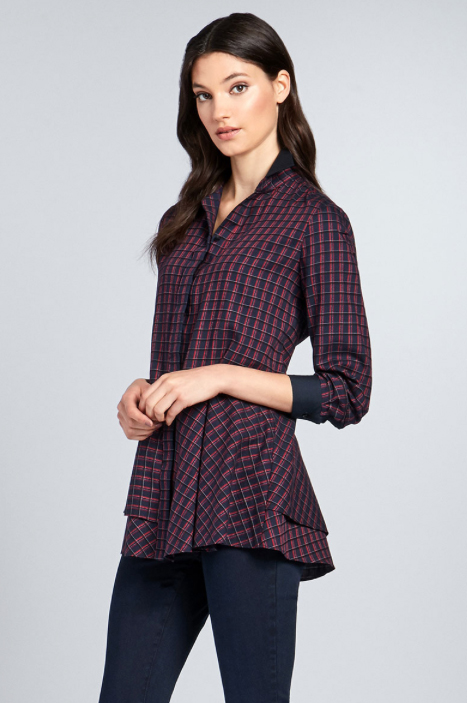 TORINO Plaid Italian Cotton Blouse from Carlisle